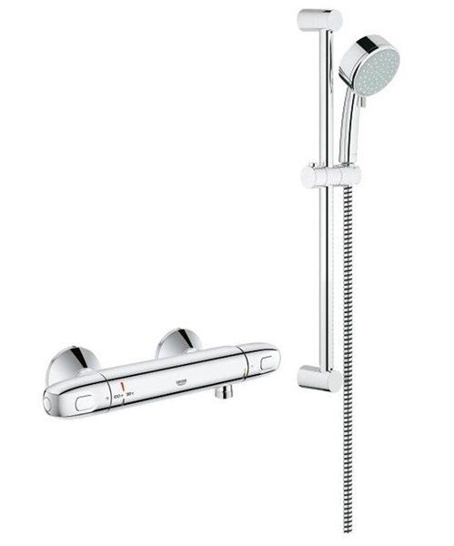 Ensemble de douche thermostatique grohtherm 1000 thm avec douchette sur barre chrome 122629 - Ensemble douche thermostatique grohe ...